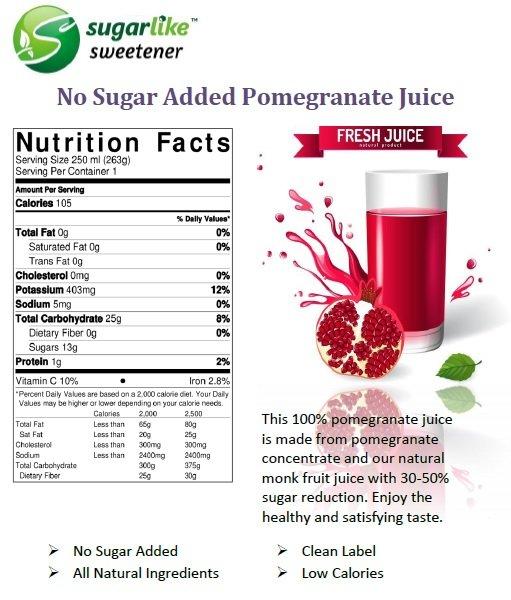 No Sugar added pomegranate juice